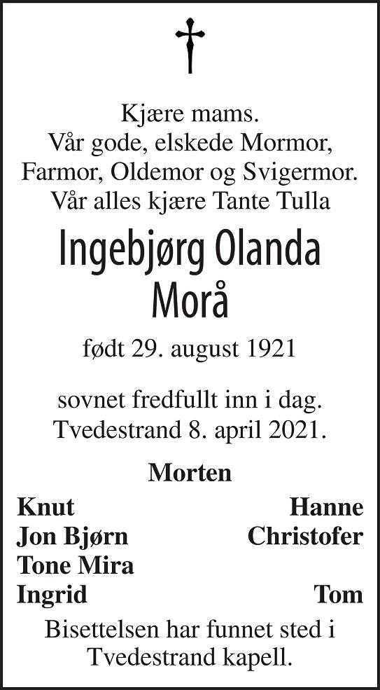 Ingebjørg Olanda Morå Dødsannonse