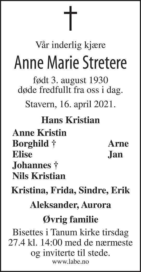Anne Marie Stretere Dødsannonse