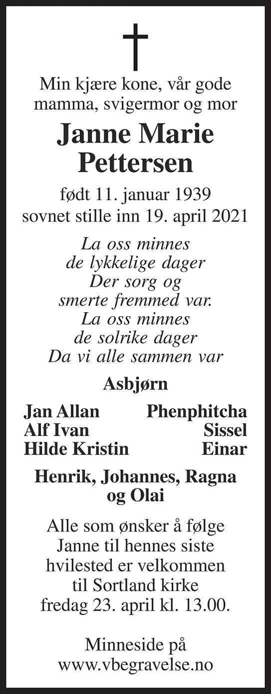 Janne Marie Pettersen Dødsannonse