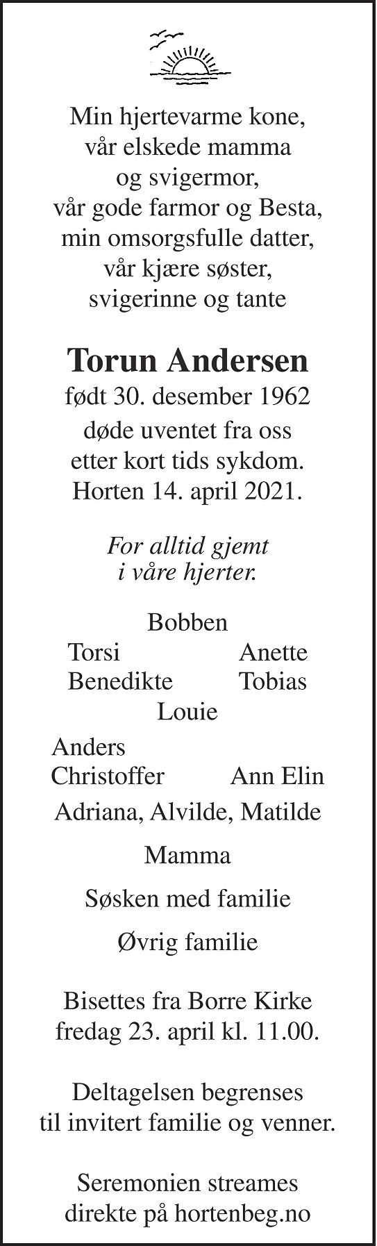 Torun Andersen Dødsannonse