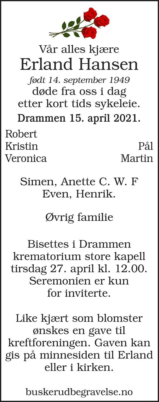Erland Hansen Dødsannonse