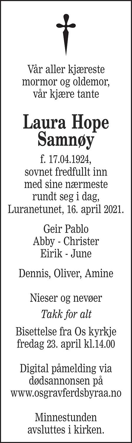 Laura Hope Samnøy Dødsannonse