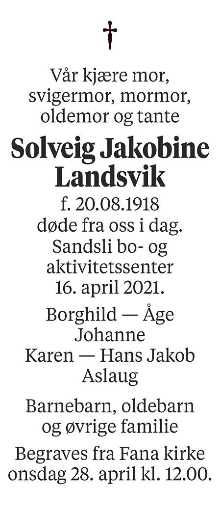 Solveig Jakobine Landsvik Dødsannonse