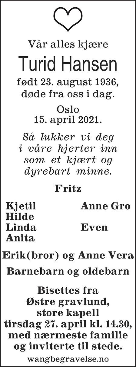 Turid Hansen Dødsannonse