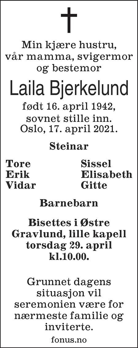 Laila Bjerkelund Dødsannonse