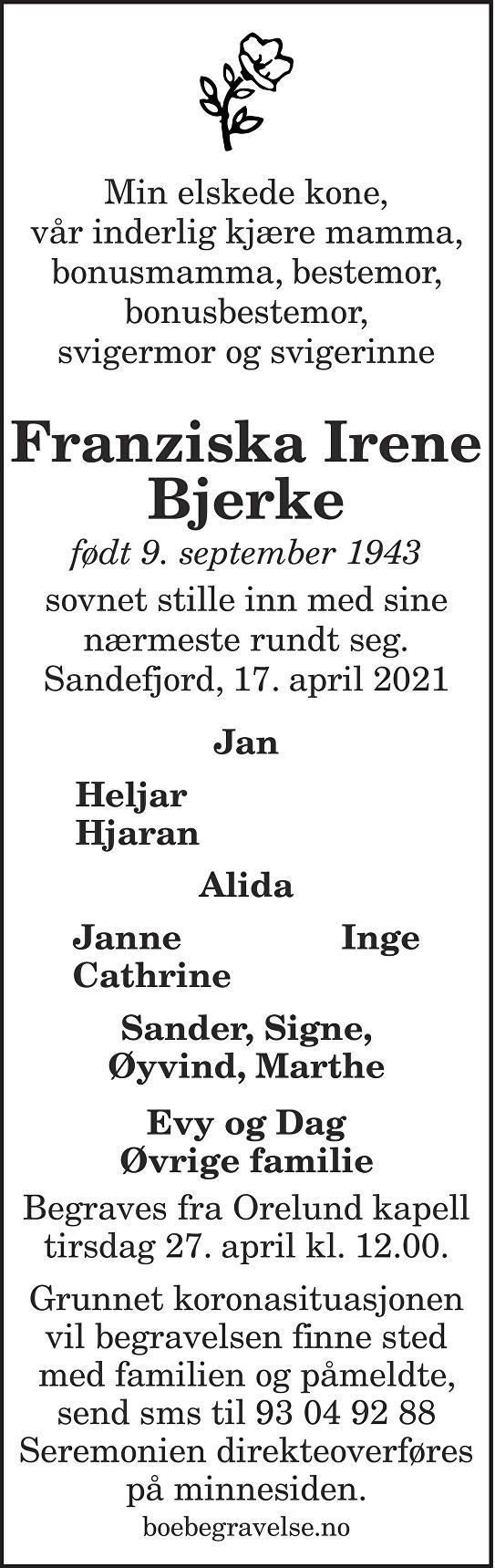 Franziska Irene Bjerke Dødsannonse