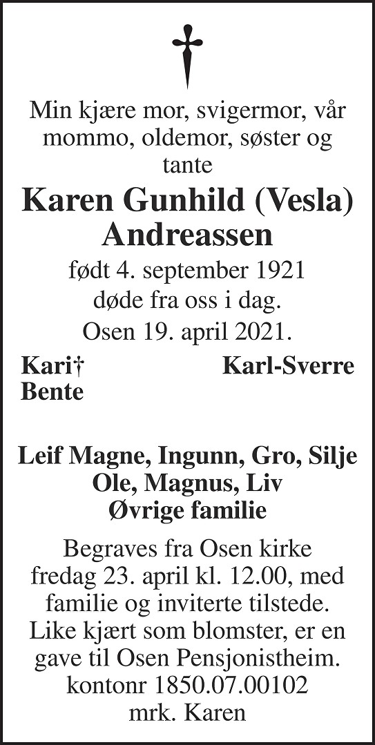 Karen Gunhild (Vesla) Andreassen Dødsannonse