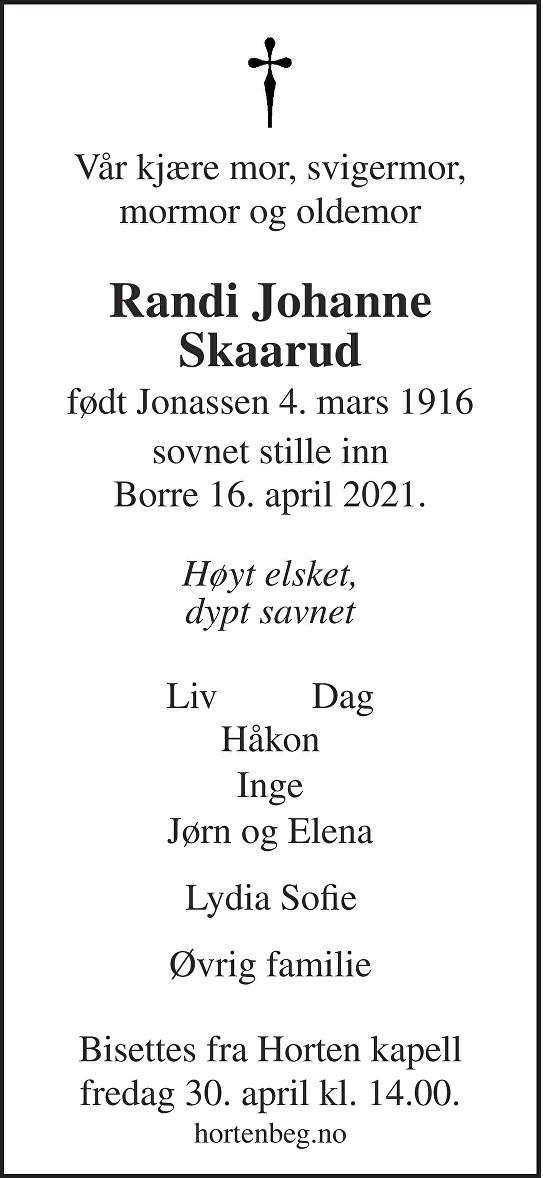 Randi Johanne Skaarud Dødsannonse