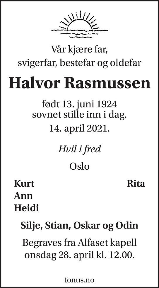 Halvor Rasmussen Dødsannonse