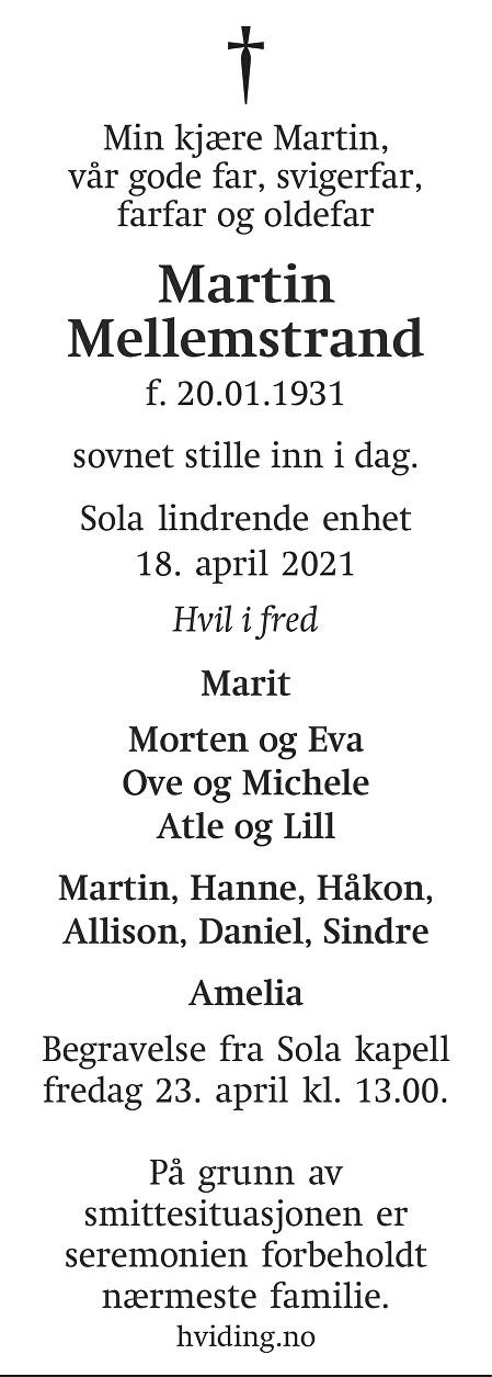Martin Mellemstrand Dødsannonse