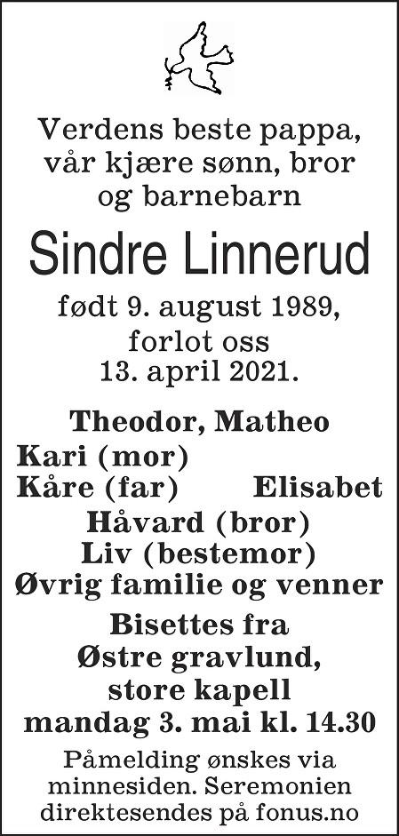Sindre Linnerud Dødsannonse