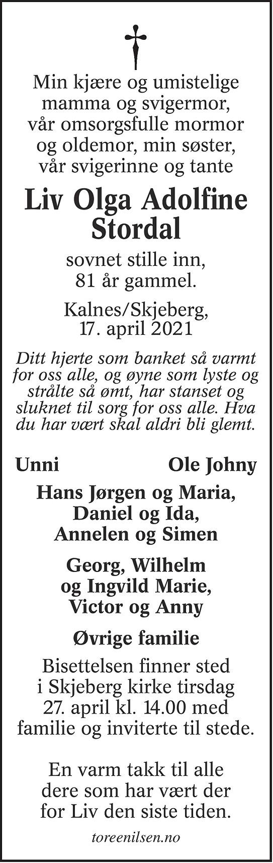 Liv Olga Adolfine Stordal Dødsannonse