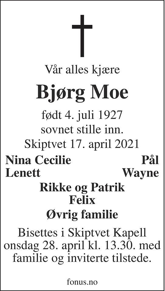 Bjørg Moe Dødsannonse