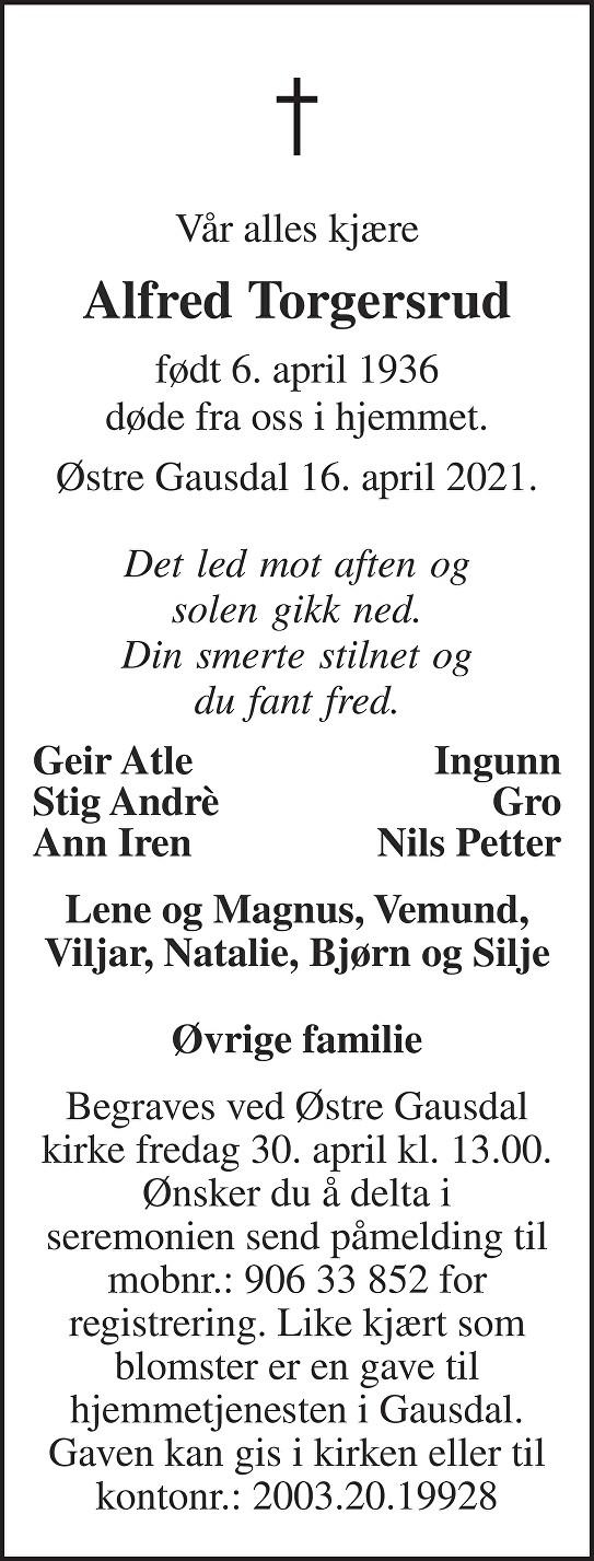 Alfred Torgersrud Dødsannonse