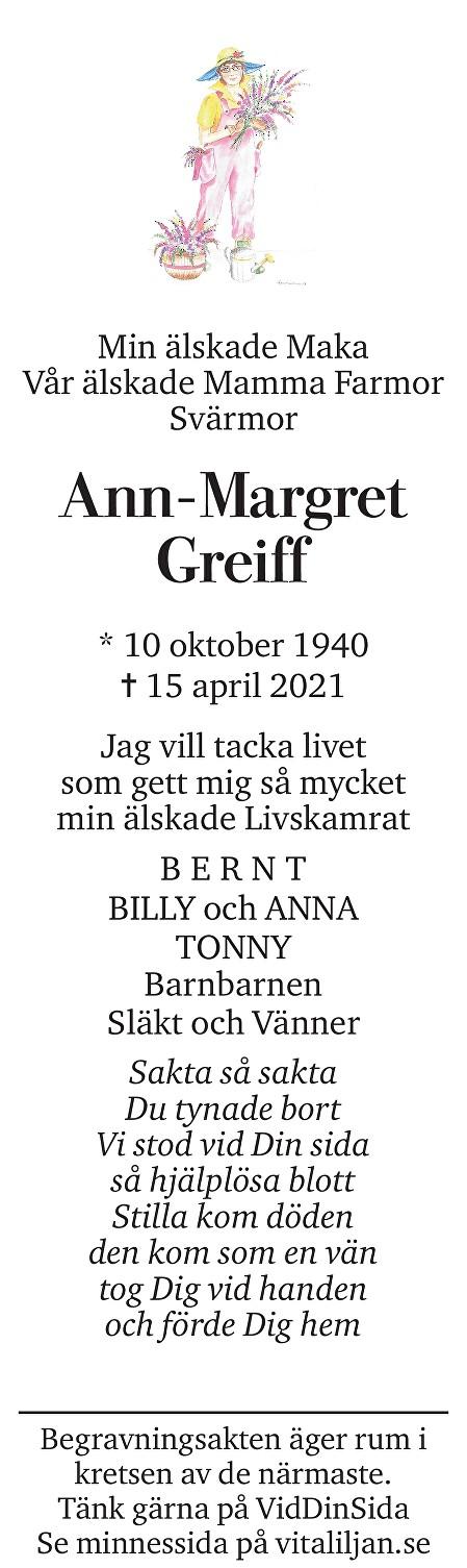 Ann-Margret Greiff Death notice