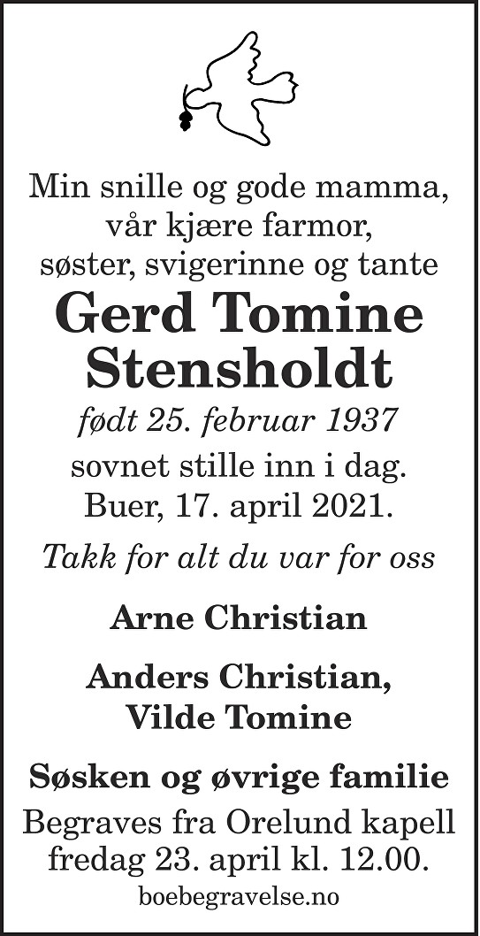Gerd Tomine Stensholdt Dødsannonse