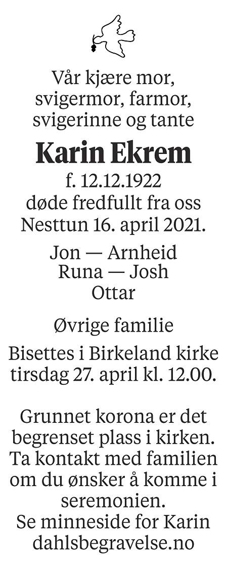 Karin Ekrem Dødsannonse