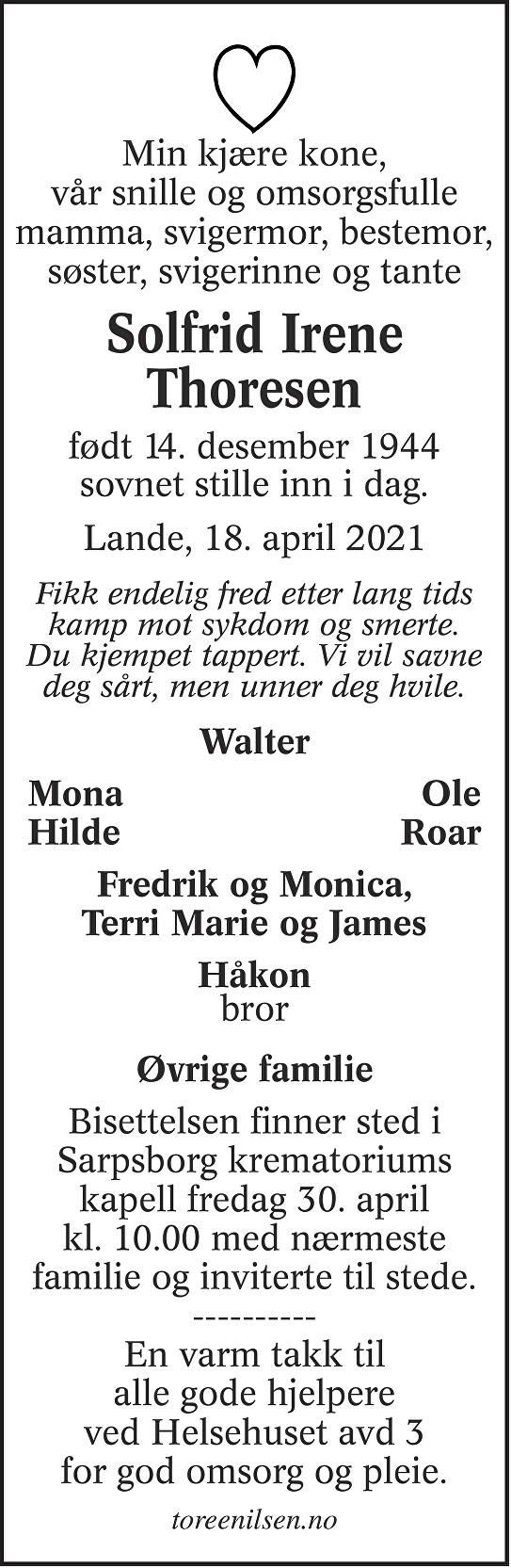 Solfrid Irene Thoresen Dødsannonse