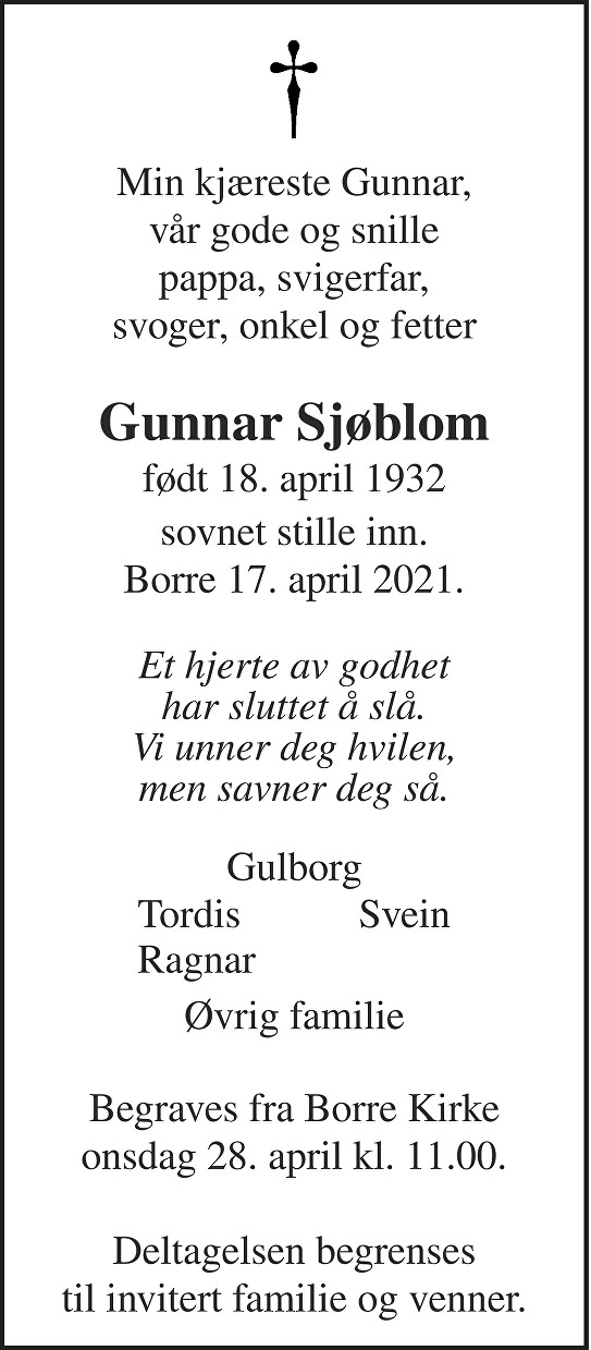 Gunnar Sjøblom Dødsannonse