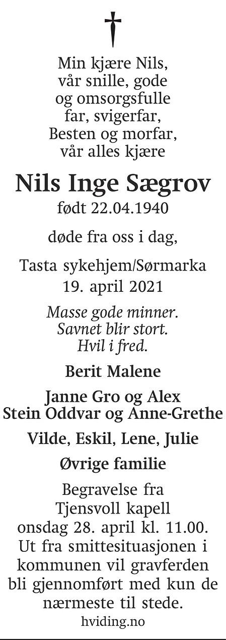 Nils Inge Sægrov Dødsannonse