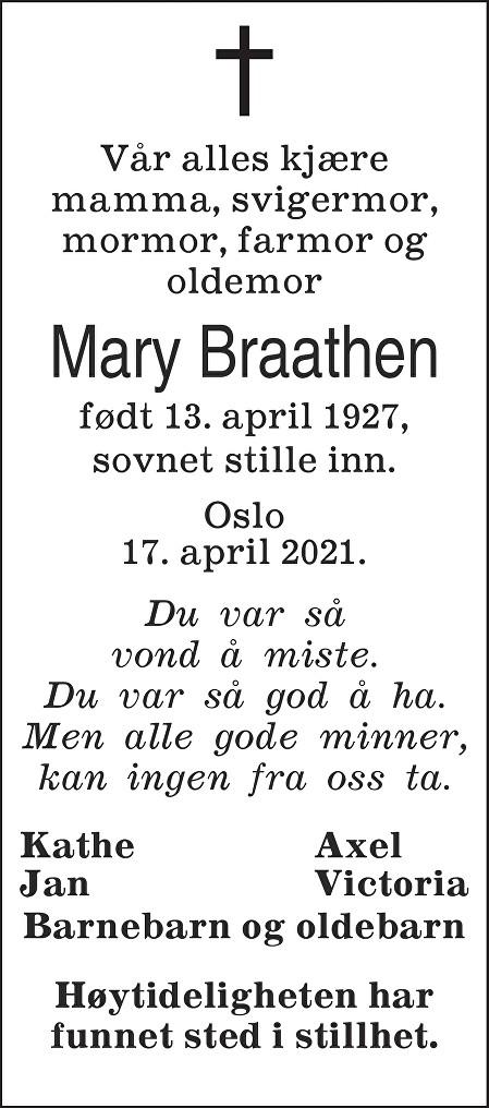 Mary Braathen Dødsannonse