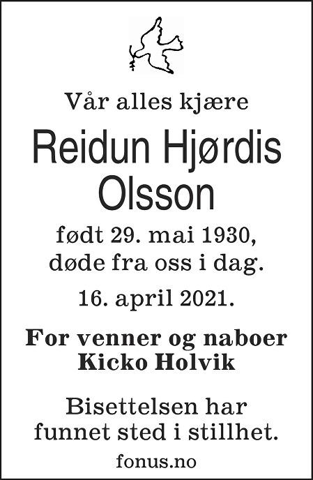 Reidun Hjørdis Olsson Dødsannonse