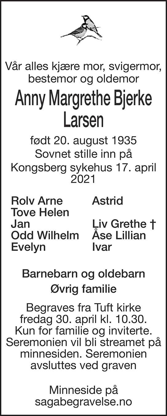 Anny Margrethe  Bjerke Larsen Dødsannonse