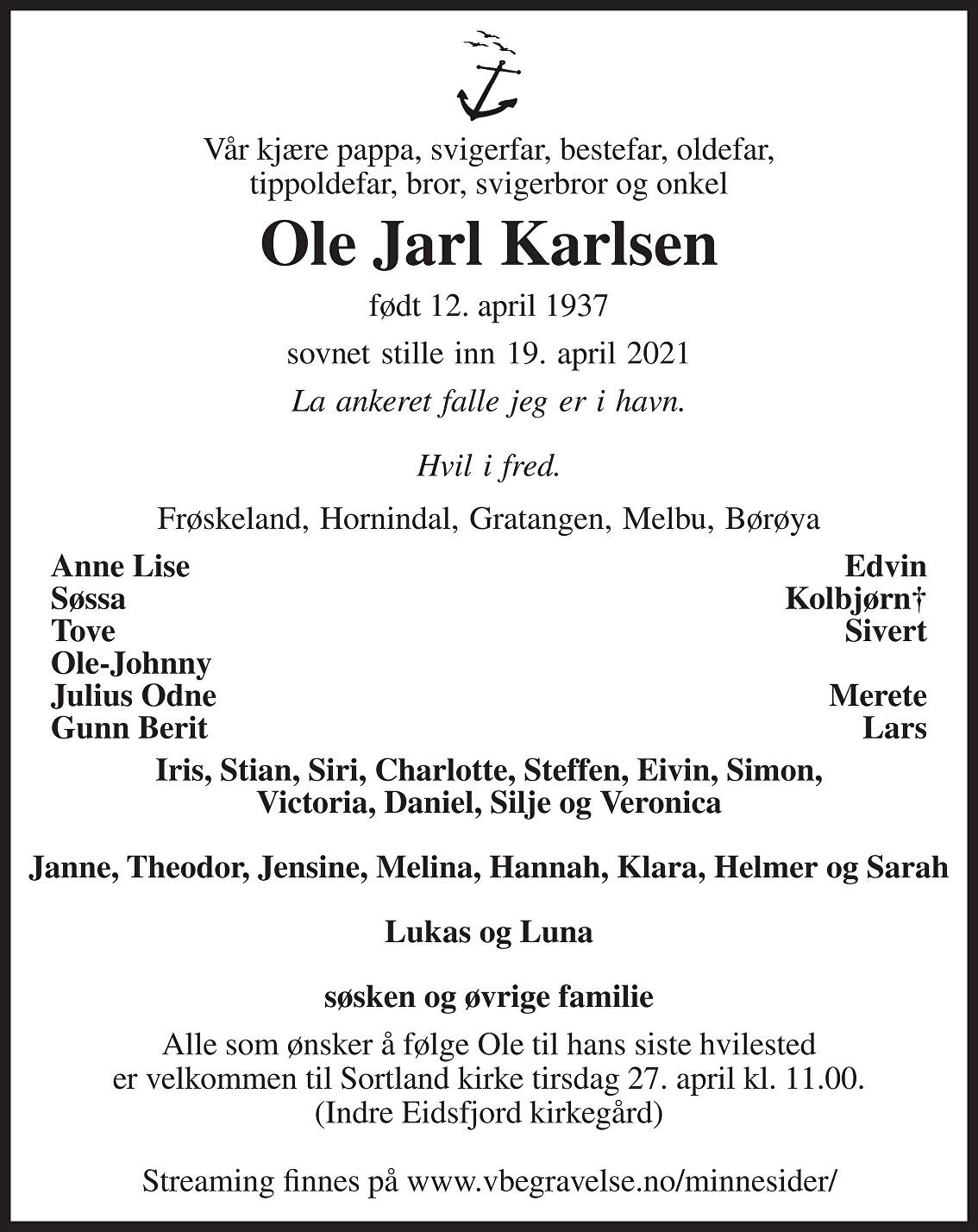 Ole Jarl Karlsen Dødsannonse