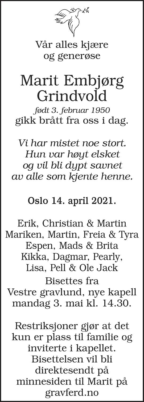 Marit Embjørg Grindvold Dødsannonse