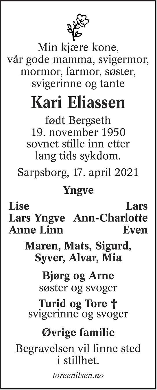 Kari Eliassen Dødsannonse