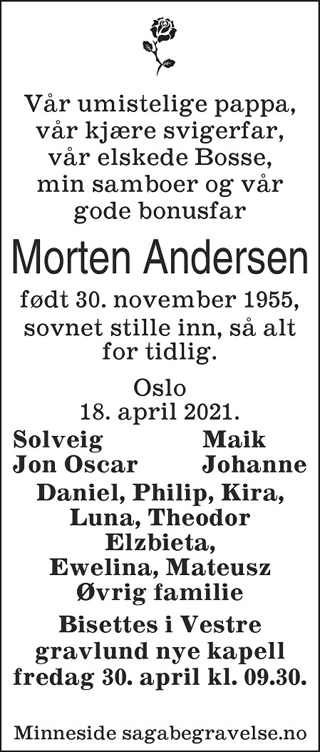 Morten Andersen Dødsannonse