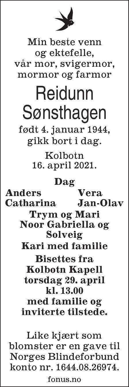 Reidunn Åsta Sønsthagen Dødsannonse