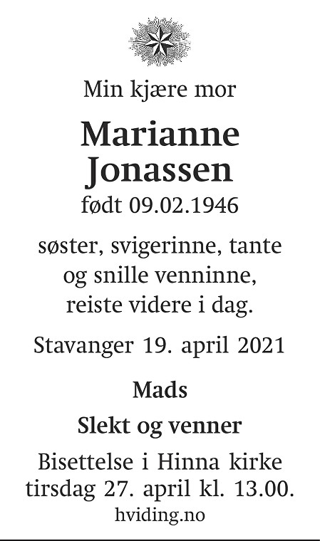 Marianne  Jonassen Dødsannonse