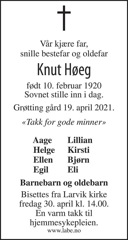 Knut Høeg Dødsannonse