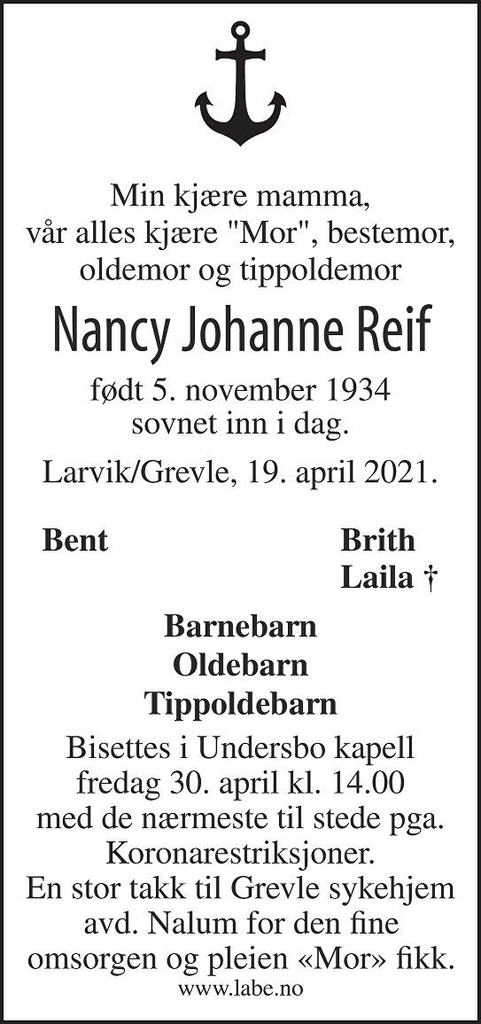 Nancy Johanne Reif Dødsannonse