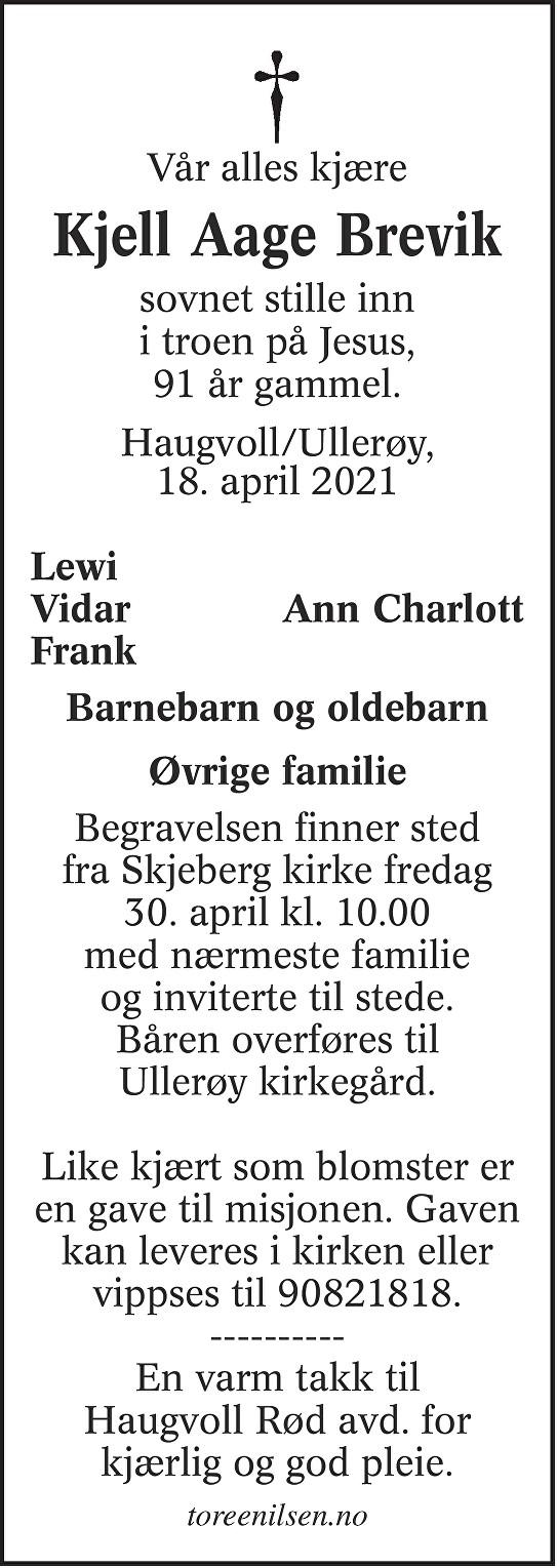 Kjell Aage Brevik Dødsannonse