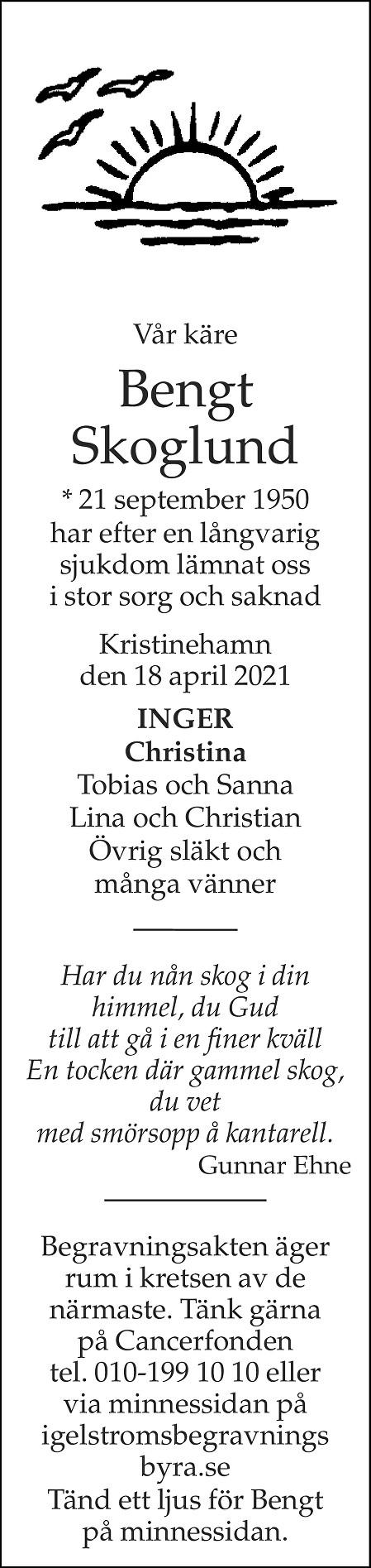 Bengt Skoglund Death notice
