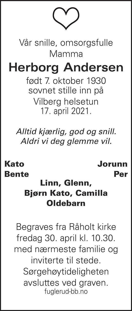 Herborg Andersen Dødsannonse