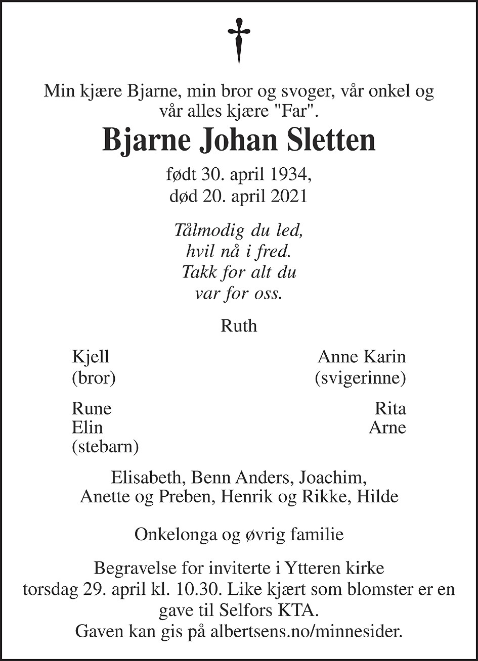 Bjarne Johan Sletten Dødsannonse