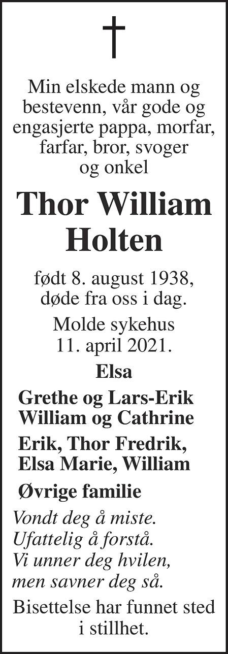 Thor William Holten Dødsannonse