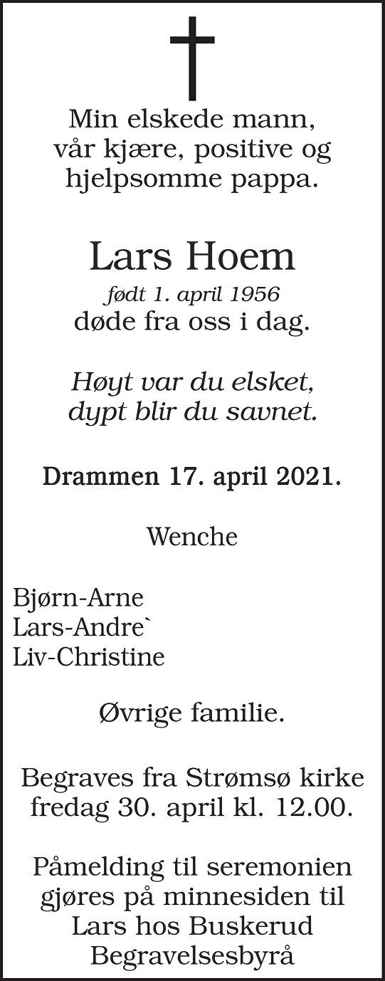 Lars Hoem Dødsannonse
