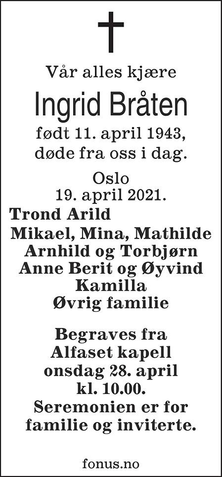 Ingrid Bråten Dødsannonse