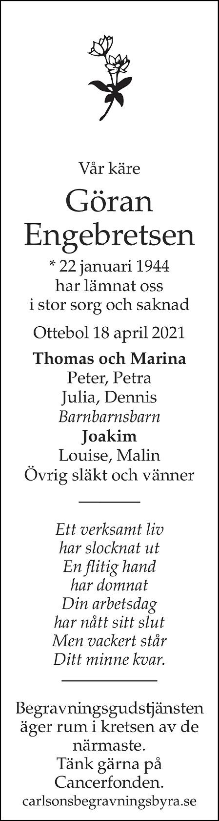 Göran Engebretsen Death notice