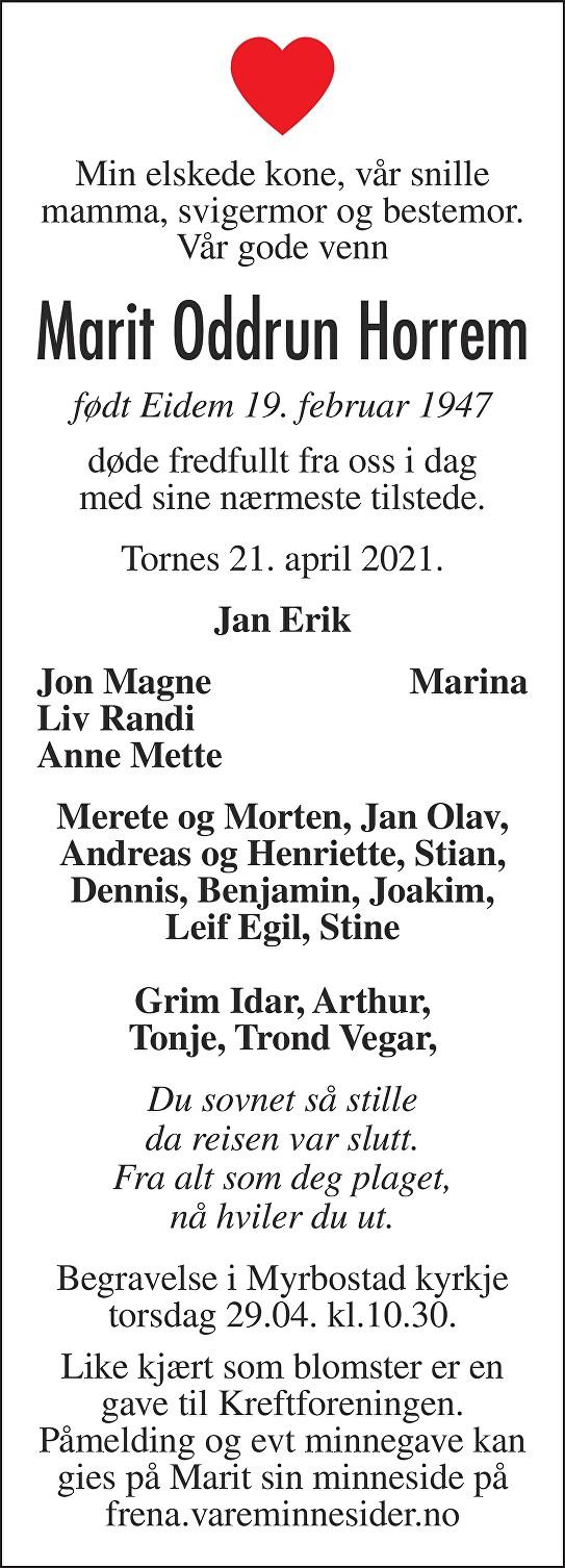 Marit Oddrun Horrem Dødsannonse