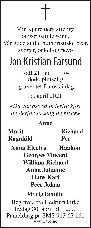 Jon Kristian Farsund Dødsannonse