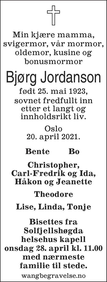 Bjørg Jordanson Dødsannonse
