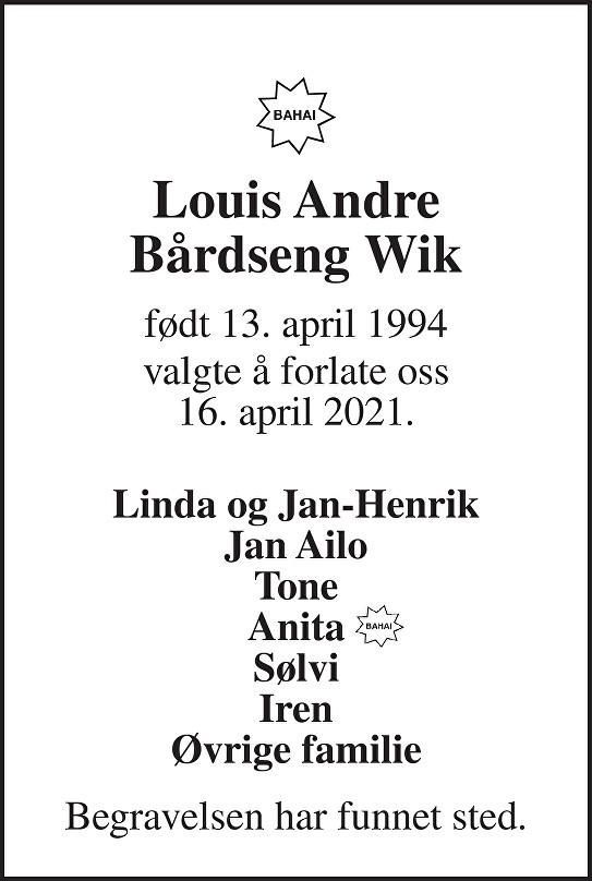 Louis Andre Bårdseng Wik Dødsannonse
