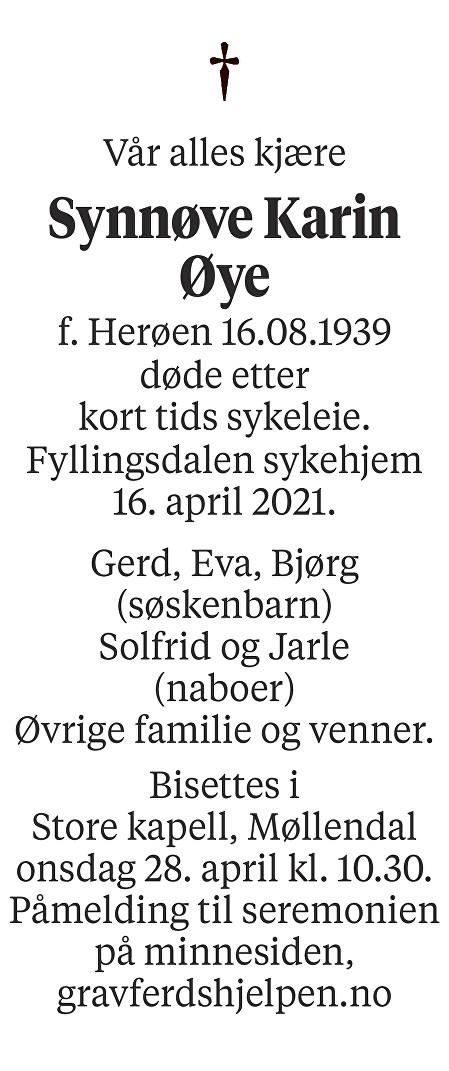 Synnøve Karin Øye Dødsannonse