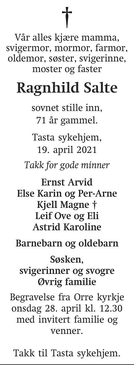 Ragnhild Salte Dødsannonse