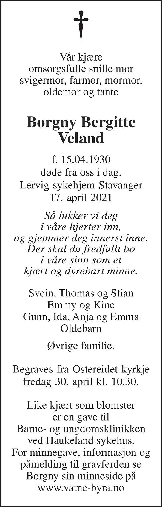 Borgny Bergitte Veland Dødsannonse